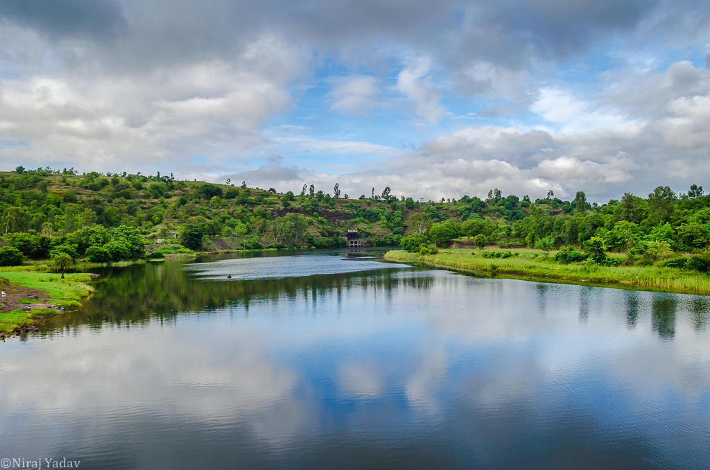 Cloud reflections on river pravara in Maharashtra