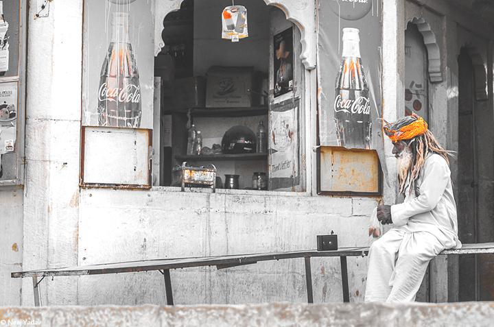 Sadhu with Transistor in Rajasthan