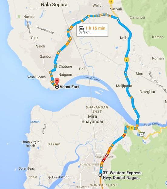 How to reach Vasai Fort from Mumbai