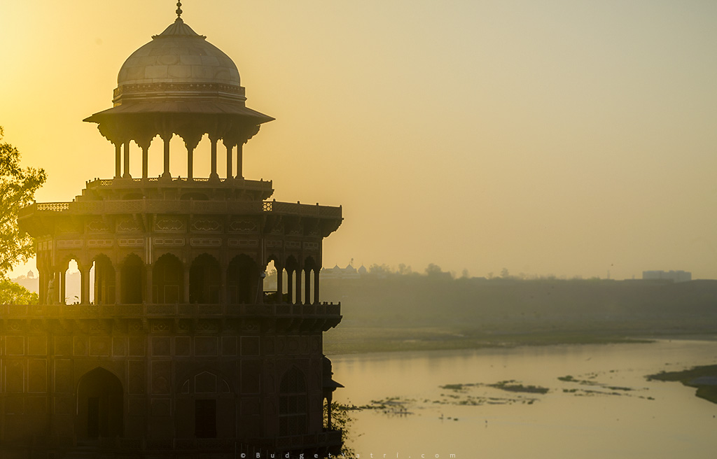 sunset, Taj Mahal, Yamuna, river