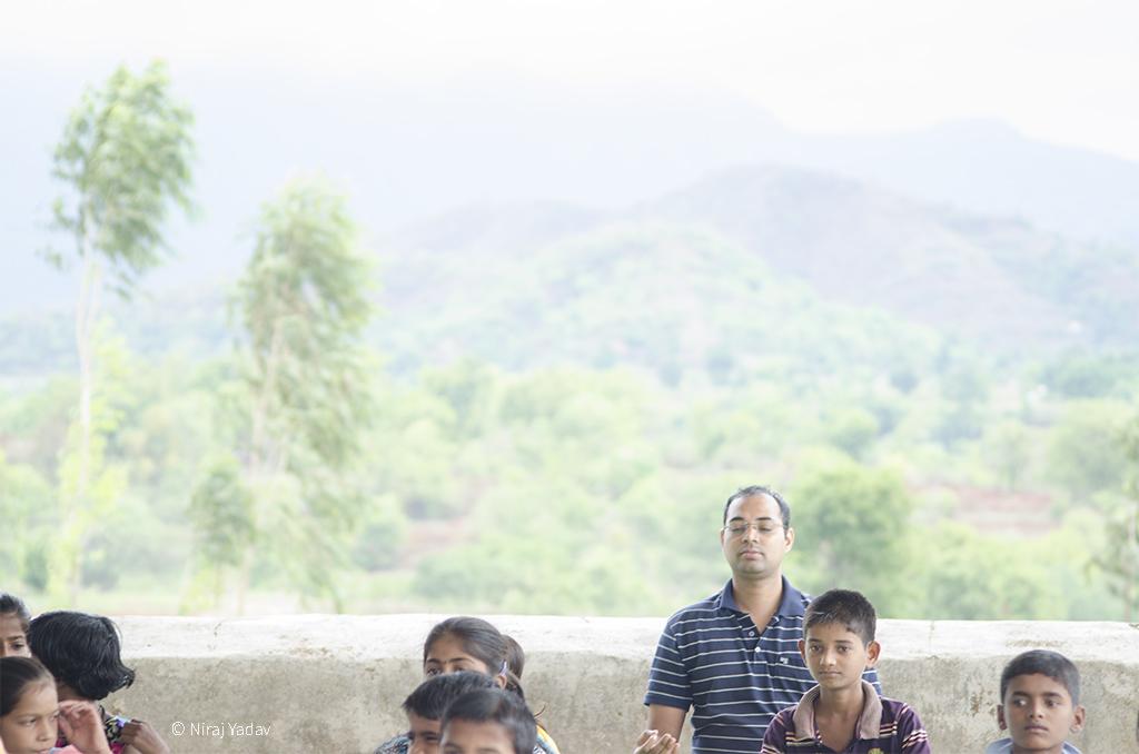 Niraj yadav practicing yoga in the hills of Sahyadris