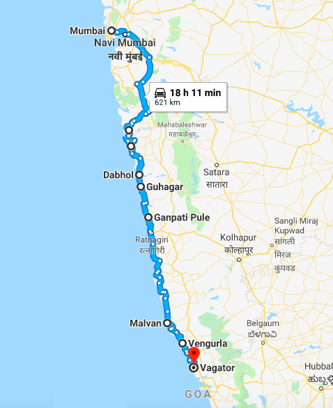 Mumbai to Goa road trip Konkan coastal highway map